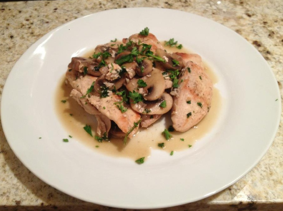 DoughMestic Diva: Light Chicken and Mushrooms in a Garlic Wine Sauce