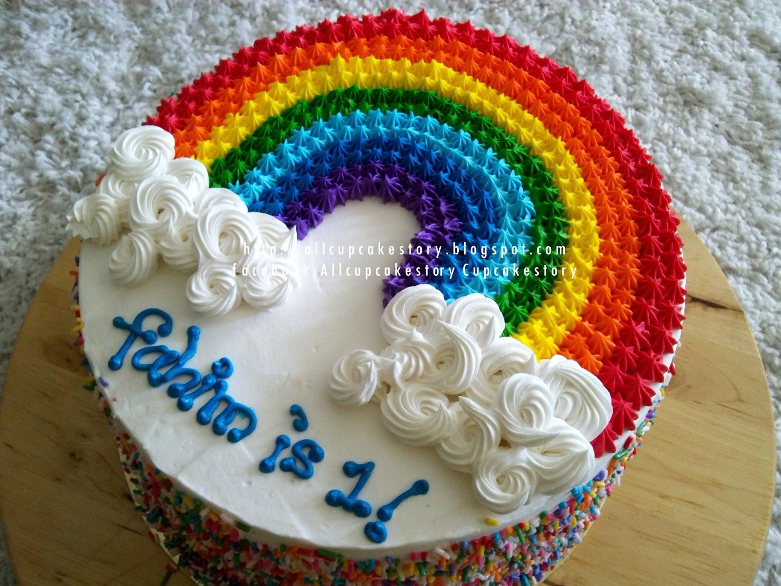 allcupcakestory: Rainbow Theme Cake