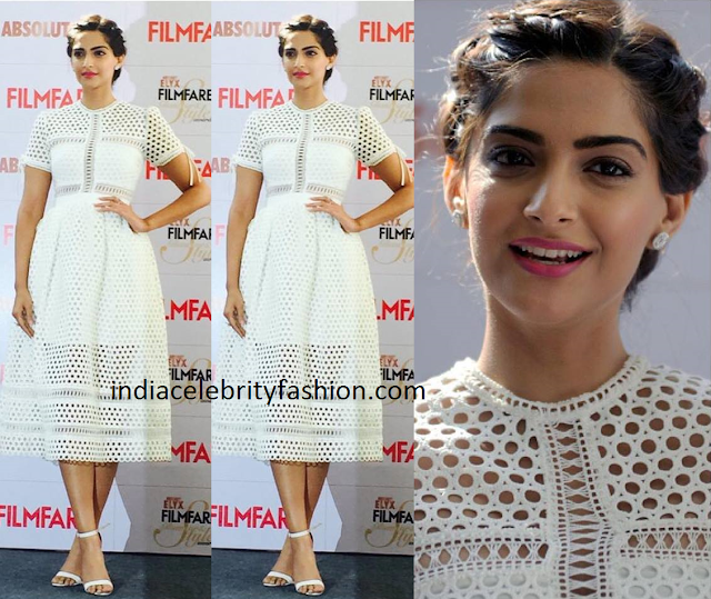 Sonam Kapoor in White Self Portrait Dress