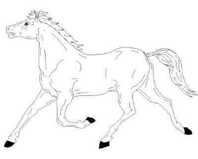 coloring pages of horses running - wild horse running coloring page