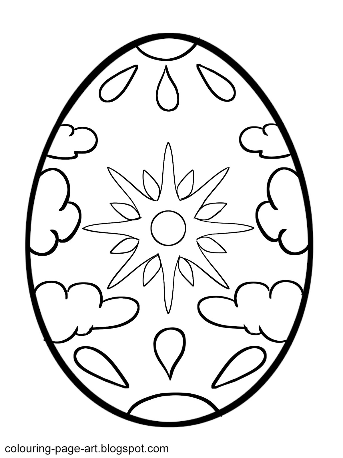 sun and clouds easter egg colouring page colouring page art