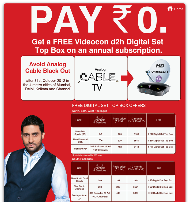 Free Videocon d2h digital set to box offer.