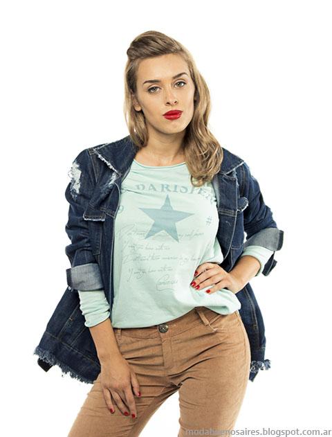 Camperas de jeans invierno 2015 moda mujer.