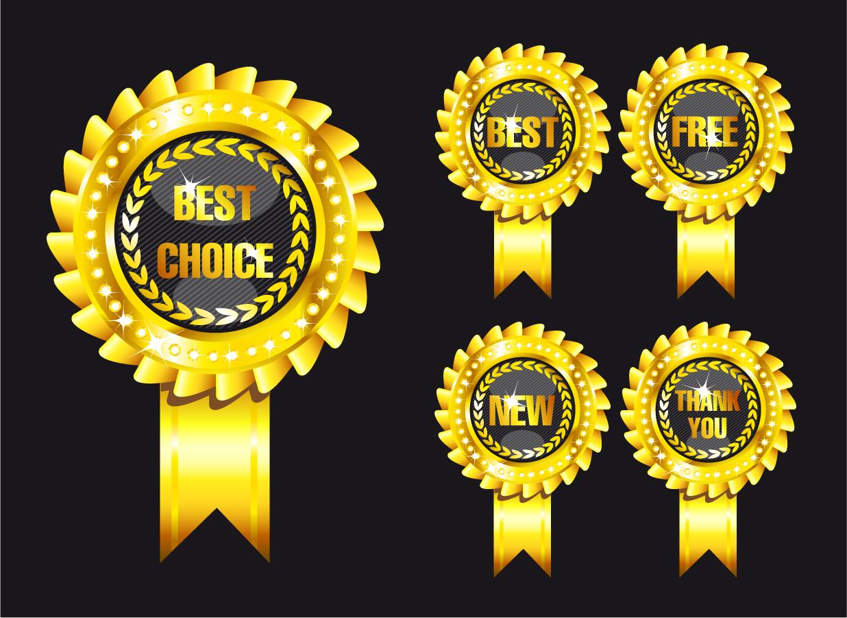 豪華に輝く金色のラベル デザイン gorgeous gold label vector イラスト素材2