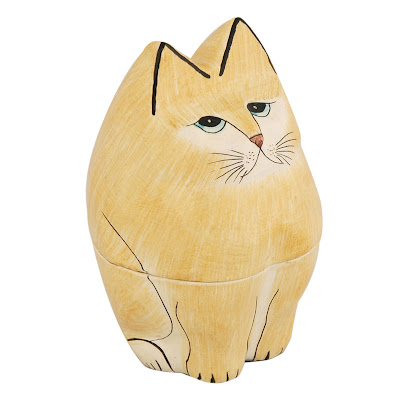 Papier Mache Cat Box (Yellow)
