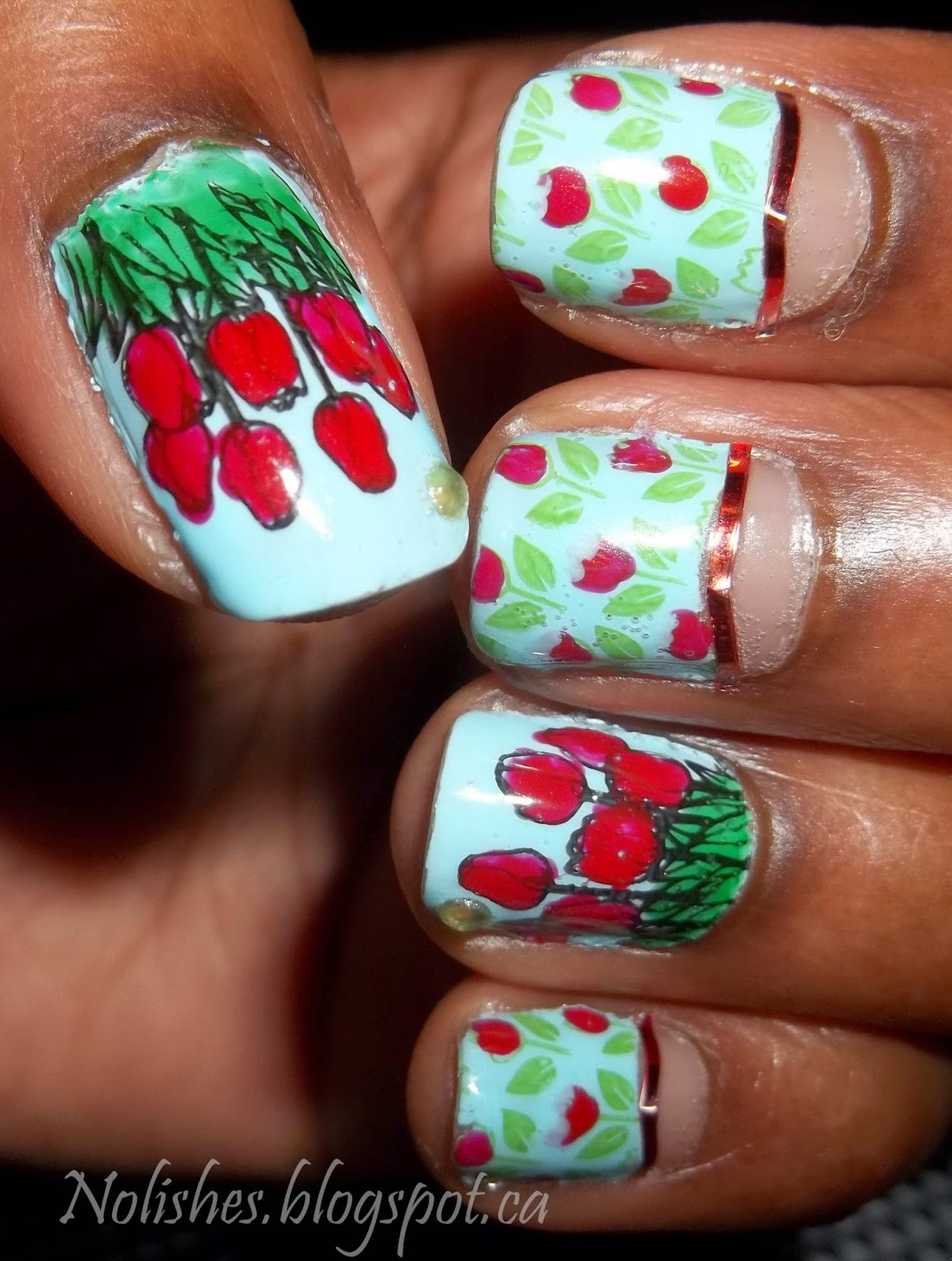 Tulip Themed Half-Moon Nail Stamping Manicure using Moyou London Pro Collection Plates 07 and 08. Polishes used: Sally Hansen Complete Salon Manicure in 'Barracuda', Essie 'Jelly Apple', NYC Quick Dry Nail Polish in 'High Line Green', Nfu OH Jelly Syrup Series JS34, and Rimmel 'Black Satin'