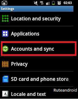 Accounts and sync Android