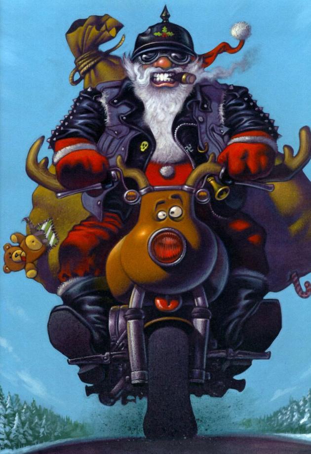 Rocker julemanden på motorcykel / Biker Santa Claus