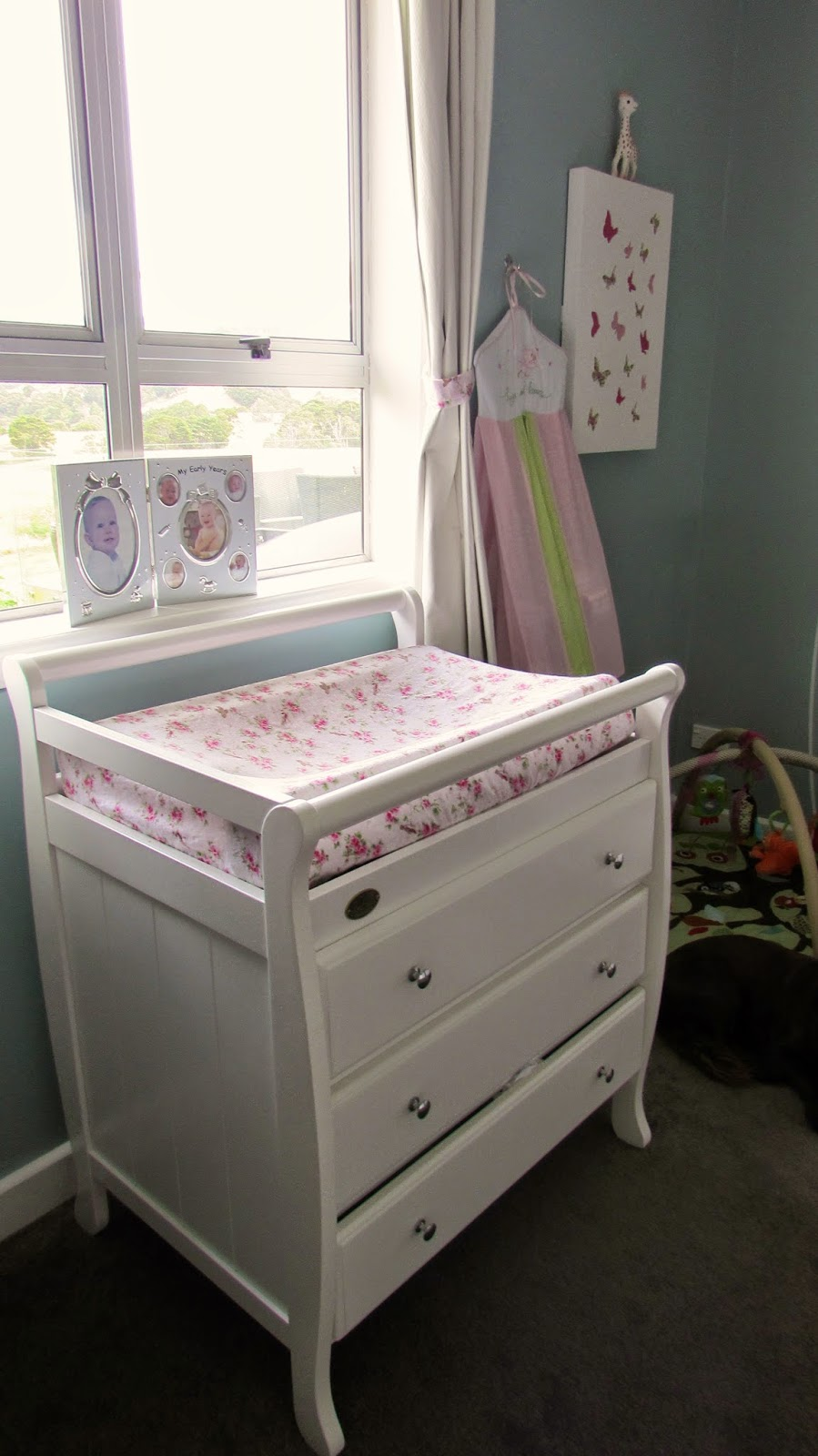 I Made The Changing Table Cover Using Floral Flannelette Fabric From  Spotlight, The Nappy Stacker Is From The Baby Factory And The Butterfly  Picture Is From ...