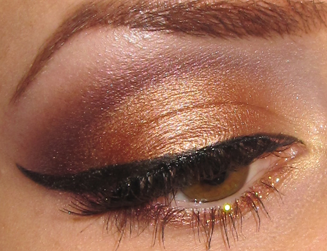 Glitter Is My Crack Golden Peach And Wine Eye Makeup Look