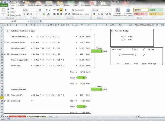 Cálculo de encofrado de madera en vigas
