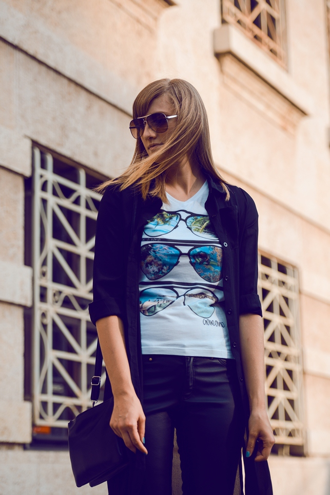 galeano lempira project, leather pants blogger outfit, printed t shirt