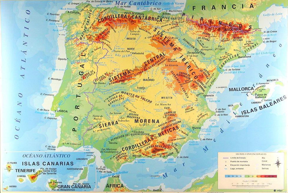 Mapa Fsico de Espaa  Noticias Espaa  Noticias de Espaa y del