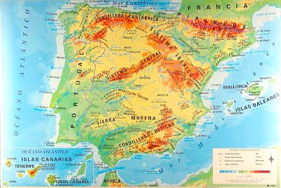 espana mapa fisico