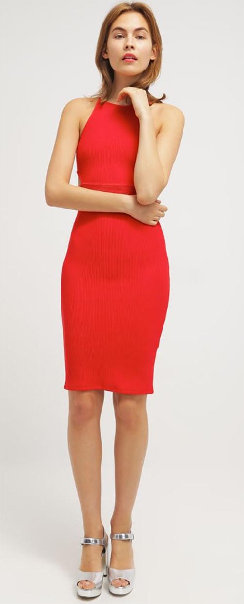 Robe fourreau midi rouge Topshop