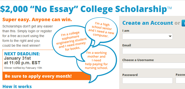 easy scholarships no essay