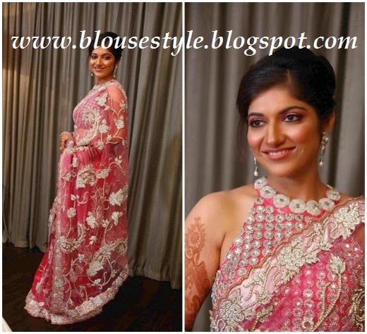 pink front neck designer blouse