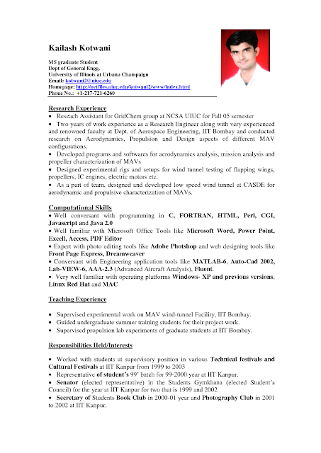 Need Resume Format 27.05.2017