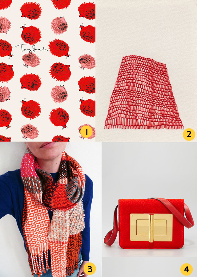selection of red items - wallpaper, embroidery, scarf and bag