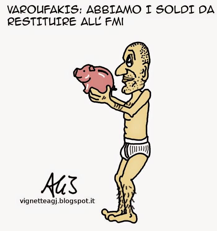 Varoufakis, FMI, Grecia, Debito, satira, vignetta