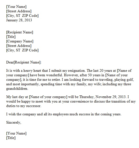Retirement Resignation Letter Template Sample.