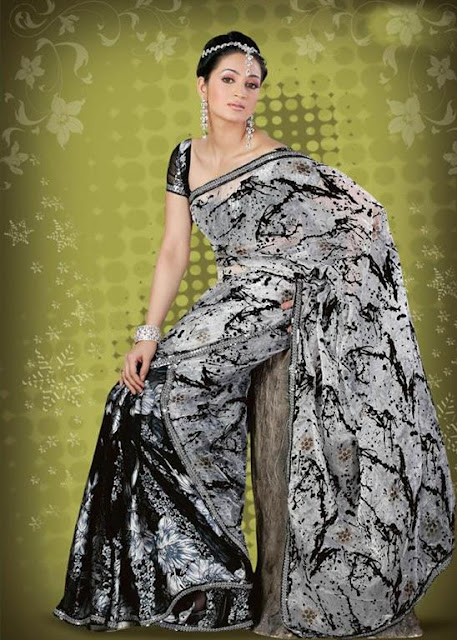 Black And White Chiffon Saree Sari