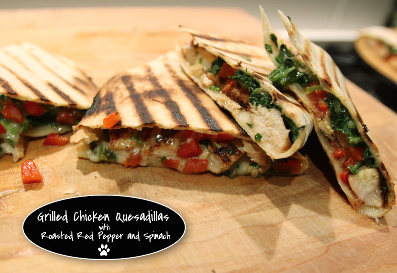 The Best Quesadillas Ever: Grilled and Stuffed with Roasted Red Pepper, Spinach, and Chicken