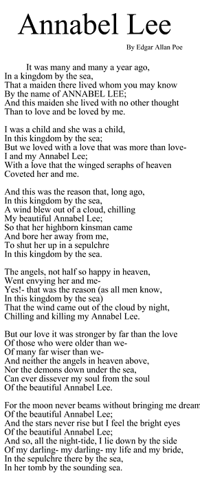 annabel lee critical essays  · poetry analysis essay annabel lee peer assessment plus other issues become less critical when developing curriculum ministry of education.