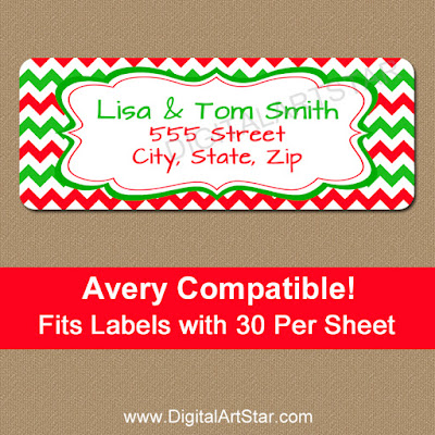 red & green chevron christmas return address labels pdf file