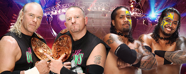 the new age outlaws lucha vs the usos en la mejor lucha libre del mundo y en el penultimo evento de ppv antes de wrestlemania