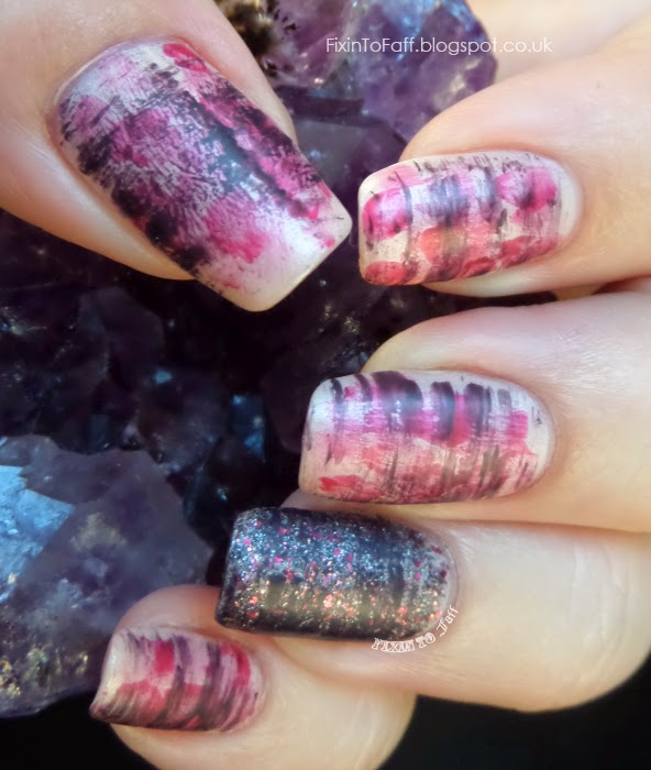 Abstract floral stripey nail art with Downton Abbey polishes and Nail Pattern Boldness Clairvoyant Visitor
