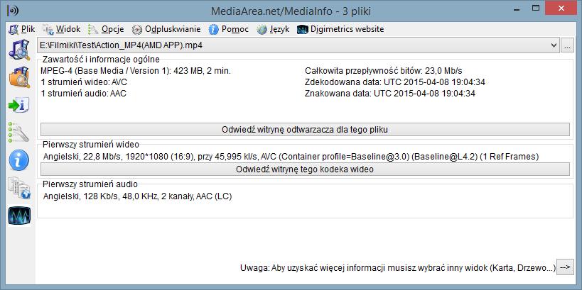 Informacja o pliku nagranym w formacie MP4 (AMD APP)