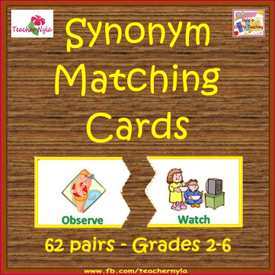 Synonym Matching Cards