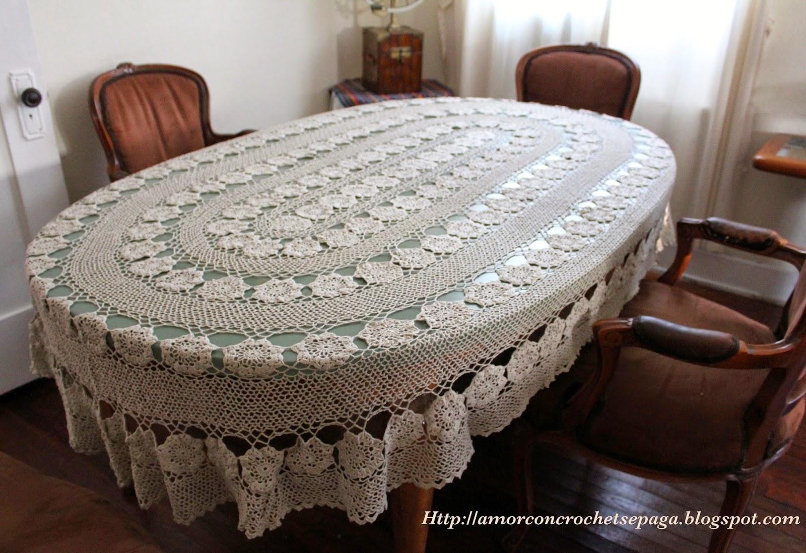 Para mi suegra mantel ovalado crochet - Mantel para mesa exterior ...