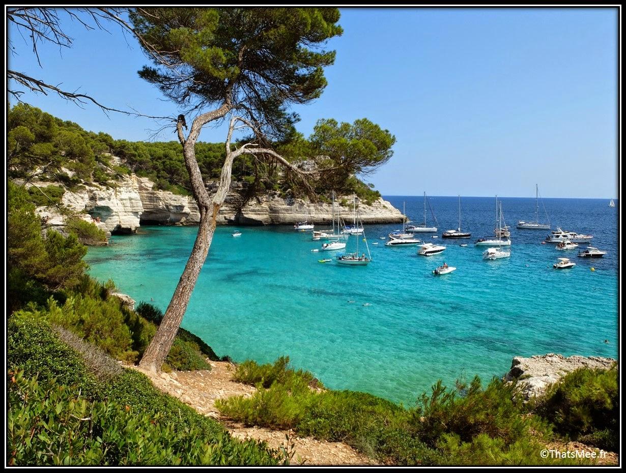Mitjana crique baie plage Minorque Menorca vue magnifique eaux transparentes Mediterranee