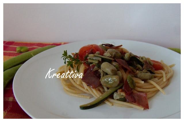 spaghetti con speck fave e zucchine