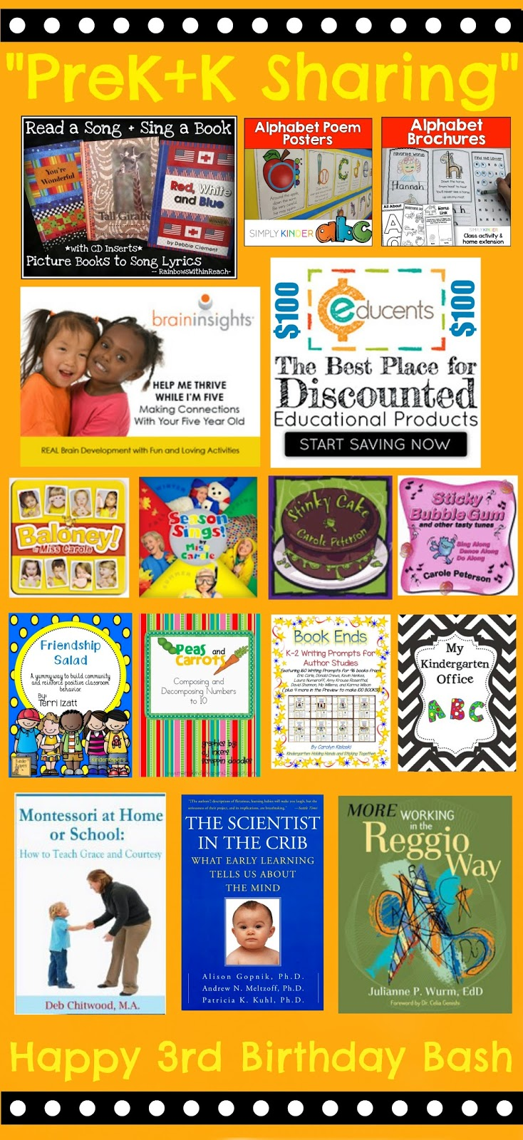 """PreK+K Sharing"" Collaborative Blog Turns 3 with a CELEBRATION Give AWAY!"