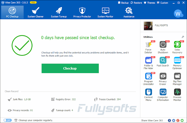 Download Wise Care 365 Pro 3.83 Build 340 Incl. Keygen