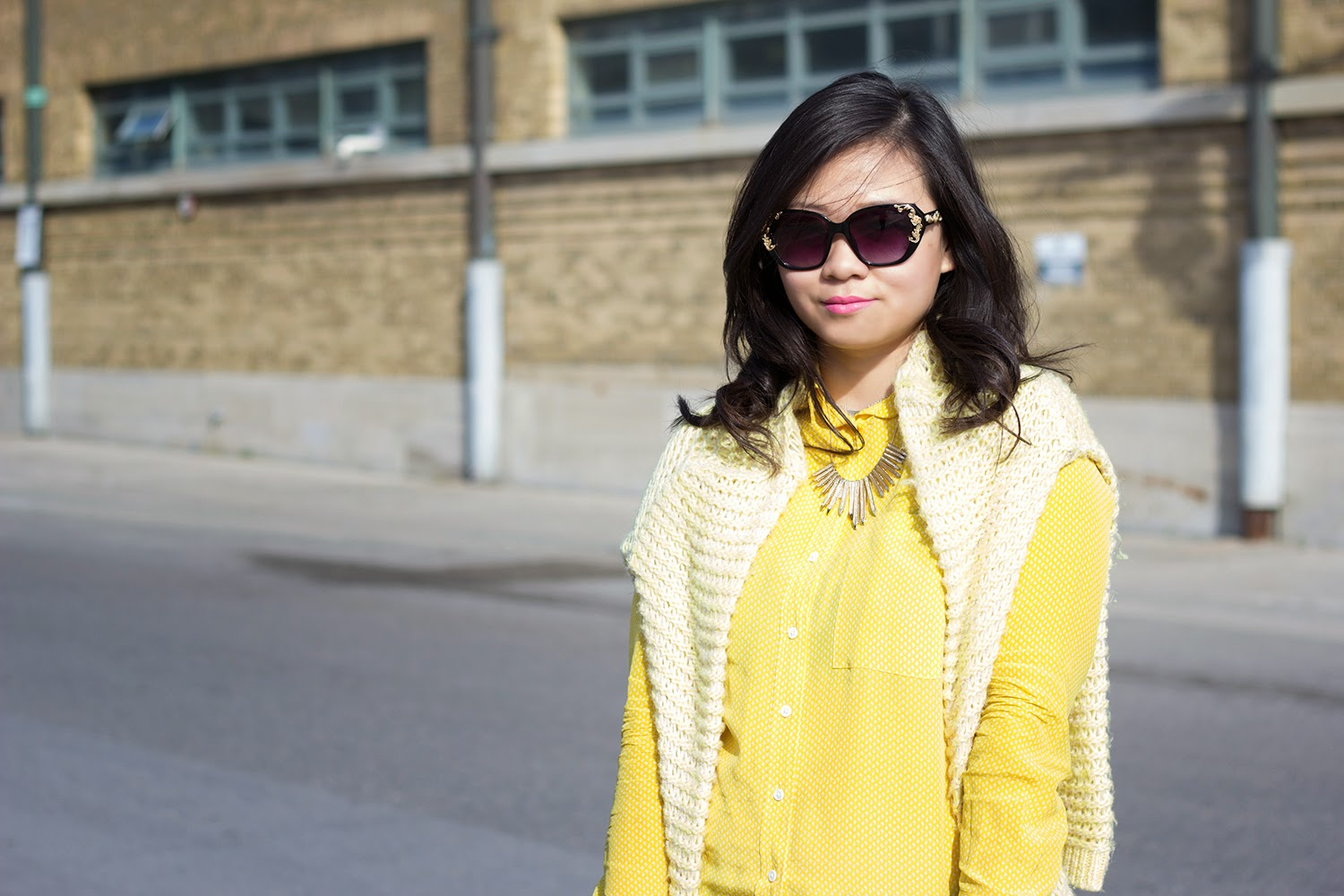 Forever-21-Pullover-Sweater, Club-Monaco-Yellow-Shirt, A-J-Morgan-sun-glasses