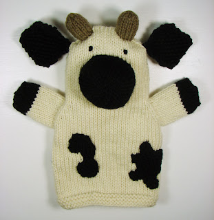 hand knit hand puppets toy animals farm cow