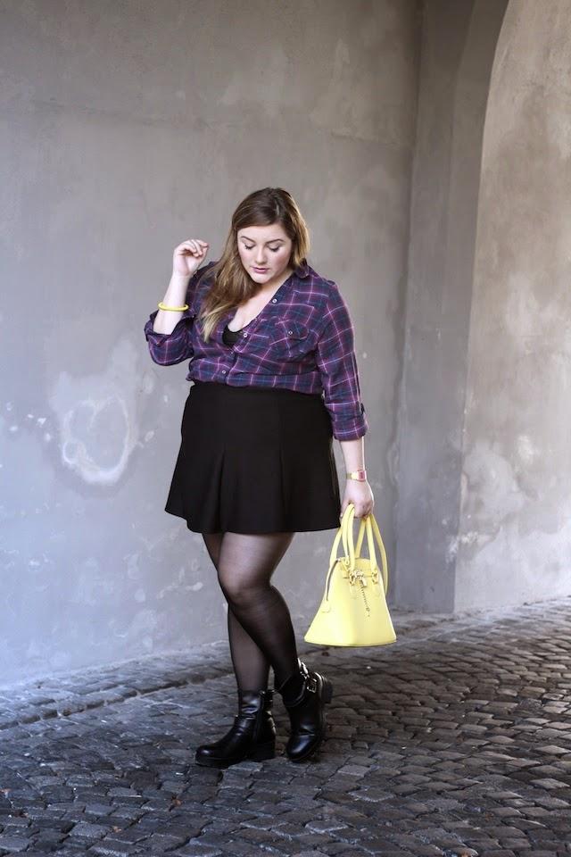 Plus Size Outfit Karohemd lila