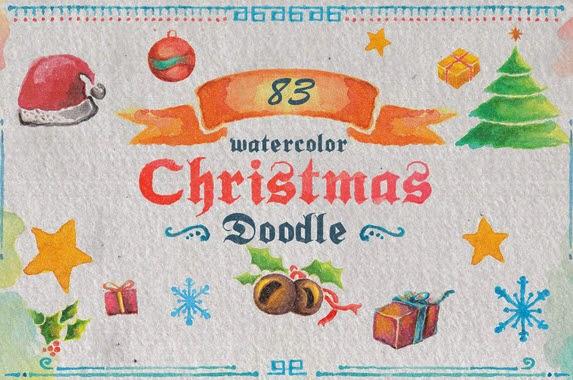 83 Watercolor Christmas Doodle