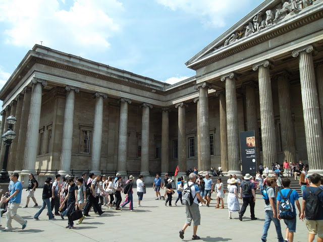 British Museum London outside view crowds of visitors
