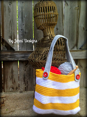 By Jenni Designs Free Crochet Pattern Small Striped Tote Bag