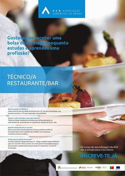 curso de restaurante e bar em Braga