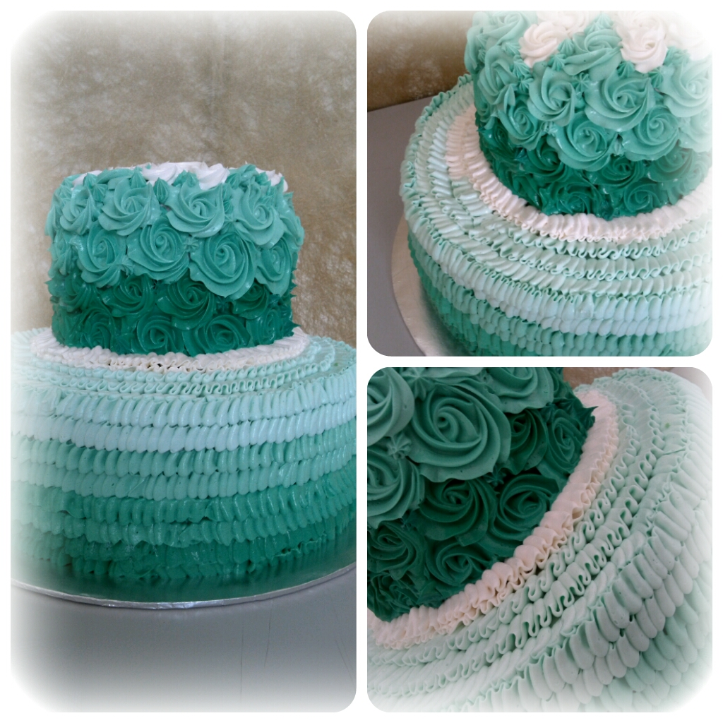 Allcupcakestory: Turquoise Rosette Wedding Cake