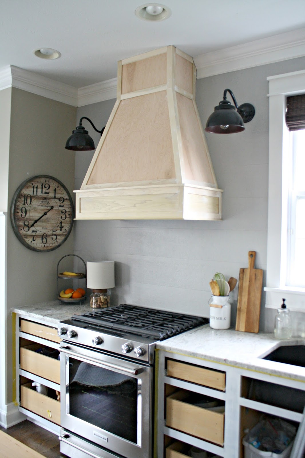 Kitchen Hood Vent On Kitchen A Diyish Wood Vent Hood From Thrifty Decor Chick