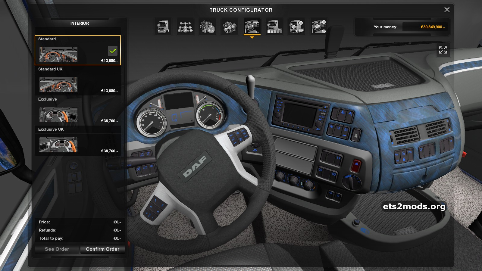 Cool interior for daf euro 6 ets2 mods for Daf euro 6 interieur
