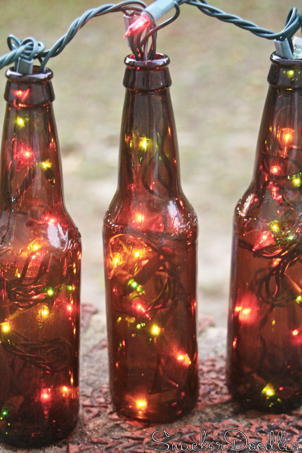 Paper angels beer bottle christmas lights for Christmas bottle decorations