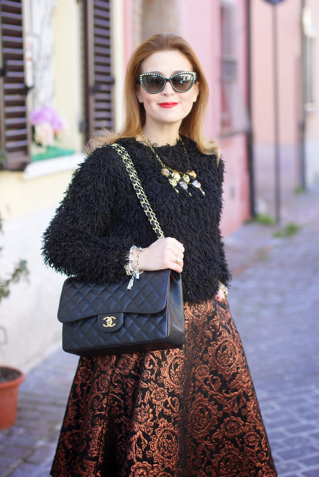 Fuzzy sweater, Chanel classic flap bag in caviar leather, vintage chanel buttons necklace, Fashion and Cookies, fashion blogger